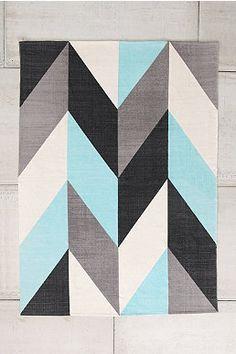 Teppich mit Zickzack-Muster in Türkis, 5 x 7 Fuß