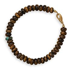 """8.75"""" Tiger's Eye and Reconstituted Turquoise Fashion Bracelet Suzy B. Accessories http://www.amazon.com/dp/B013T6NNCI/ref=cm_sw_r_pi_dp_J-5Yvb1ZE0T4G"""
