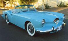 "Teal Blue 1954 Kaiser Darrin Roadster designed by Howard A. ""Dutch"" Darrin."