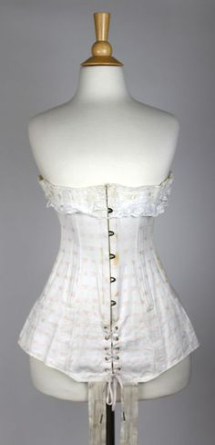 Antique White Cotton Underbust Corset, Pink Embroidered Flowers, Early 20th C