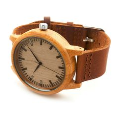 Top 2016 Special Gifts Round Bamboo Watches Genuine Leather Strap Wooden Wristwatch Japan Movement 2035 Quartz Watch for Friends