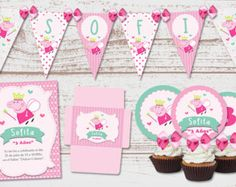 Birthday baby Peppa Pig fairy party by elitakitsdigitales on Etsy Troll Party, Pig Party, Cupcake Party, Happy Birthday Name, Pig Birthday, Birthday Parties, Peppa Pig Princesa, Cumple Peppa Pig, Ben E Holly