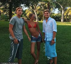 (L-R) Prince Constantine-Alexios, Princess Maria-Olympia & Prince Achileas-Andreas of Greece pose on the lawn of their family's luxe vacation home in the Bahamas. They are nephews & niece of Queen Mother Sofía of Spain.