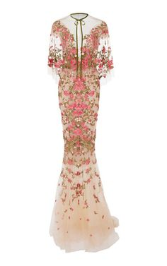 Floral Embroidered Dress With Capelet by Marchesa | Moda Operandi