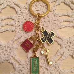 Coach Keychain✨ This keychain gets noticed, and is very pretty. It has been used, and has some wear to it, but still in great condition. Price reflects condition, therefor price is firm. No trades. Coach Accessories