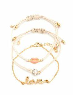 """love"" friendship bracelet set"