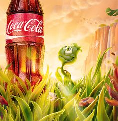 Plant Bottle/Coca-Cola by Oscar Ramos, via Behance Coca Cola Ad, World Of Coca Cola, Caricature, Funny Cartoons, Cute Illustration, Love Art, Vintage Posters, Illustrations, Necklaces