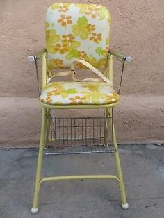 Vintage Stuff, Retro Vintage, Vintage High Chairs, Kids Booster Seat, Baby Chair, Outdoor Chairs, Outdoor Decor, Steel Metal, Chair Pads