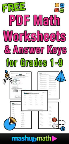 Are you looking for free printable PDF math worksheets and answer keys for grades 1-9? This massive collection of free math worksheets covers topics from basic operations to fractions and decimals to algebra and geometry! (Tags: first, second, third, fourth grade, fifth grade, sixth grade, seventh grade, eighth grade, 1st grade, 2nd grade, 3rd grade, 4th grade, 5th grade, 6th grade, 7th grade, 8th grade, grade 1, grade 2, grade 3, grade 4, grade 5, grade 6, grade 7, grade 8, homeschool… Free Fraction Worksheets, 8th Grade Math Worksheets, Free Printable Math Worksheets, Homeschool Worksheets, Sixth Grade Math, Fractions Worksheets, Math Fractions, Multiplication, Homeschooling