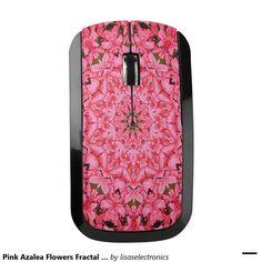 Pink Azalea Flowers Fractal Wireless Mouse
