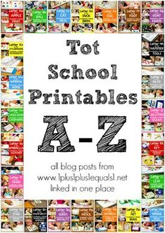 Tot School Printables ~ All posts A-Z from @1plus1plus1 linked in one place!  #totschool