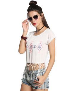 Fashion Women Round Neck Embroidery Tassel Blouse Crop Tops