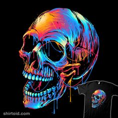 Colorful Skull | Shirtoid #colors #glitchygorilla #skull