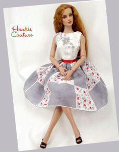 Refined gray vintage hankie, Tonner Sydney Chase models Hankie Couture design! doll face repainted by Nancy Lee Moran