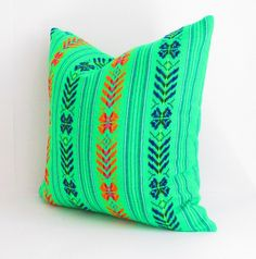 Green Tribal Pillows Covers, Colorful Pillow Covers, Bohemian Decor, Boho Bedding, Green  Pillow Cover 18x18, Mexican tribal pillow.