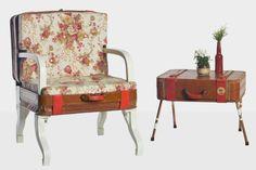 #SL2.1 y #SL2.2 Dos maletas abandonadas, han pasado a mejor vida una de ellas a sillón, realizando la estructura interior con tablero de DM y las patas con madera de palet reciclado pintadas de blanco, relleno con espuma, retapizado con tela floral y capitone. La otra maleta de mesita con estructura interior y cajón en DM, las patas de tubo de cobre con un toque de pintura blanca esmaltada.  http://www.lapetitemaisonlaboratoridart.com https://www.facebook.com/lapetitemaison.laboratoire