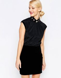 Image 1 of Love Moschino Embellished Neck Velvet Dress