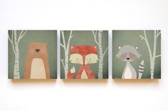 Color - forest animals illustrations on wood 12 x 12 - a unique product by fotom . Color – forest animals illustrations on wood 12 x 12 – a unique product by fotomaedchen on DaWa Cuadros Diy, Wand Tattoo, Fox Decor, Kids Room Wallpaper, Wallpaper Ideas, Baby Zimmer, Forest Animals, Kidsroom, Kids House