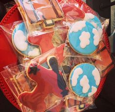 Decorated sugar cookies at an airplane baby shower party! See more party planning ideas at CatchMyParty.com!