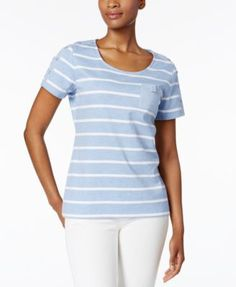 Karen Scott Striped Pocketed Active Top, Only at Macy's | macys.com