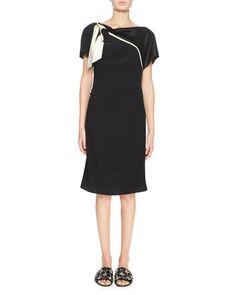LANVIN Draped Tie-Neck Short-Sleeve Dress, Black. #lanvin #cloth #