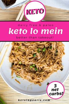 If you miss ordering Chinese takeout, this low carb lo mein from Keto in Pearls is going to be your new favorite recipe. With a few common ingredients, zero carb konjac noodles, and a scorching hot pan, you can make this copycat keto lo mein recipe! This dish is a must-try recipe for dinner! #ketolomein #lowcarb #easyrecipe #ketonoodles #healthy #dinnerrecipes Ketogenic Recipes, Low Carb Recipes, Healthy Recipes, Ketogenic Diet, Healthy Meals, Real Food Recipes, Healthy Food, Low Carb Noodles, Shirataki Noodles