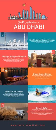 Travel and Trip infographic Travel infographic - Top 5 Attractions In Abu Dhabi That You Must Explore Infographic Abu Dhabi, Dubai Travel, Dubai Vacation, Beste Hotels, Celebrity Travel, United Arab Emirates, Culture Travel, Travel Quotes, Travel Around
