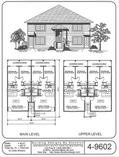 Building designs building and bath on pinterest for Quadruplex apartment plans