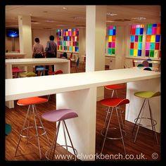 jclworkbenchltd Slab refectory table in white Polyrey laminate #jclworkbench #Polyrey