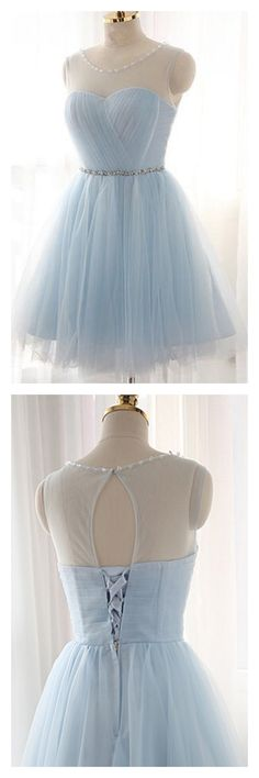 Knee-Length A-Line/Princess Tulle Sky Blue Homecoming Dress Check out our blue tulle dress selection for the very best in unique or custom, handmade pieces. Lalamira offers high quality sky blue tulle homecoming dresses in all various styles, shop now! Simple Homecoming Dresses, Simple Prom Dress, Prom Dresses For Teens, Tulle Prom Dress, Prom Dresses Blue, Cheap Prom Dresses, Pretty Dresses, Graduation Dresses, Teen Dresses