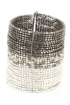 Saachi  Knight Cuff In Silver & Gunmetal  $36.00