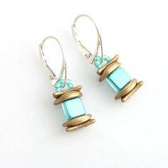 Beaded earrings - czech tile and crescent beads http://www.sashe.sk/kacenkag/detail/kleopatra-nausnice