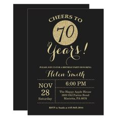 Shop Birthday Invitation Black and Gold Glitter created by Happyappleshop. 70th Birthday Invitations, 70th Birthday Parties, 20th Birthday, Zazzle Invitations, Birthday Celebration, Birthday Surprise For Mom, 70th Birthday Ideas For Mom, Glitter Cards, Gold Glitter