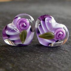 Lampwork beads 1318 Hearts Pair 2 Purple with Roses by beadgoodies, $10.00