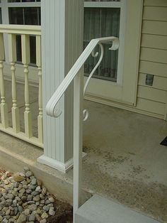 another one-post design, but I'd stay away from white and the overly traditional flat metal scrolls Porch Step Railing, Porch Handrails, Exterior Stair Railing, Indoor Railing, Outdoor Stair Railing, Metal Stair Railing, Iron Handrails, Porch Steps, Front Steps
