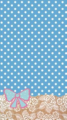 Blue Polka Dots and Bow Wallpaper from CocoPPa.