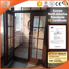 Manufacture Price of Wood and Aluminum Composite French Door with Matt Glass and Decorative Bar