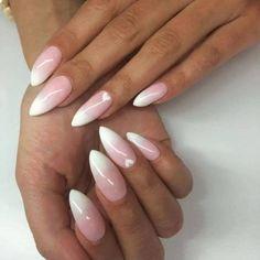 Amazing stiletto/pointy/almond shaped white/pink nails bílé nehty, úprava n Pointy Nails, Toe Nails, Natural Color Nails, White Almond Nails, Milky Nails, Nailart, Pink Ombre Nails, Polka Dot Nails, Nail Games