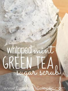 Whipped Mint Green Tea Sugar Scrub | www.EssentiallyEclectic.com | Make your own perfectly whipped green tea sugar scrub in three easy steps!