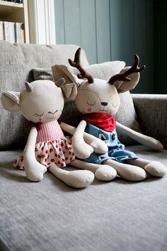 Handmade Girl Goat and Boy Deer Cloth Dolls