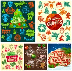 Retro Christmas labels and elements vector