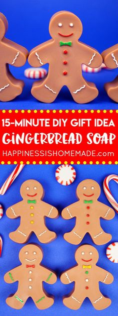 These easy DIY Gingerbread Soaps smell incredible, and they only take 15 minutes to create! These gingerbread man soaps make a great homemade Christmas gift idea that's perfect for friends, family, neighbors, and teachers! via @hiHomemadeBlog
