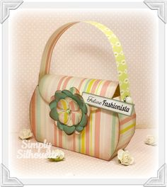 AMELIE'S ACCESSORIES SVG KIT is an adorable kit including this fabulous Purse and 3D Flower!  Julie uses a gorgeous print, matching the flower!  Perfect size for a scarf, a gift card, any small gift to gift to your girlfriend!  Go check out the Eiffel Tower Box in the kit, super cool!