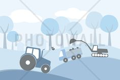Countryside - Blue - Fototapeter & Tapeter - Photowall