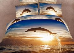 Cool Dolphin Pattern Comfortable 4 Piece 3D Bedding Sets Animal Print Bedding- ericdress.com 10720149