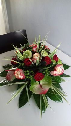 Tropical Flower Arrangements, Christmas Flower Arrangements, Funeral Flower Arrangements, Funeral Flowers, Tropical Flowers, Fresh Flowers, Altar Flowers, Casket, Cemetery