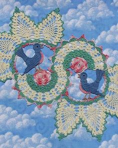 Picture of Blue Birds of Happiness Doily Download