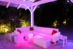Wedding Garden of Eden Lighting Lounge Rental Sofas Pink white