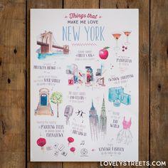Lámina Lovely Streets - Things that make me love New York (ENG) - Mr. Wonderful