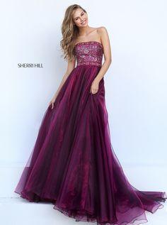 Sherri Hill 50779 rich a-line strapless prom dress #ipaprom #sherrihill